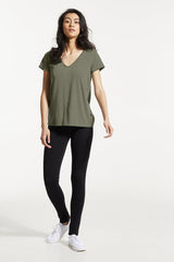 GAX Shirt by FIG, Acacia, T-shirt, V-neck, saddle shoulders, box pleat at back, Drirelease fabric, sizes XS to XL, made in Canada