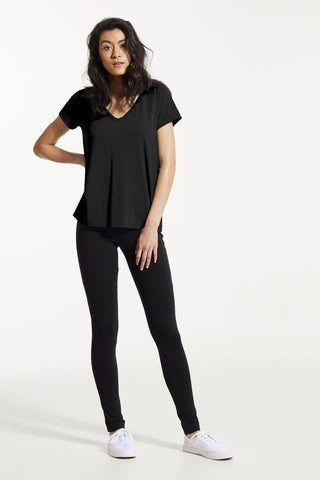 GAX Shirt by FIG, Black, T-shirt, V-neck, saddle shoulders, box pleat at back, Drirelease fabric, sizes XS to XL, made in Canada