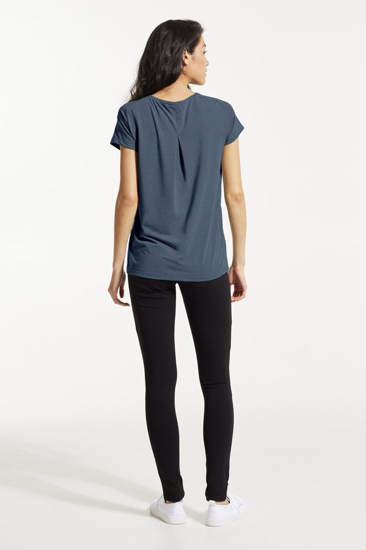 GAX Shirt by FIG, Bowerbird, back view, T-shirt, V-neck, saddle shoulders, box pleat at back, Drirelease fabric, sizes XS to XL, made in Canada