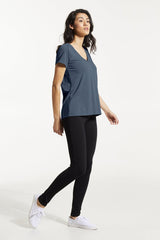 GAX Shirt by FIG, Bowerbird, side view, T-shirt, V-neck, saddle shoulders, box pleat at back, Drirelease fabric, sizes XS to XL, made in Canada