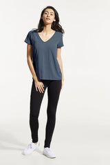 GAX Shirt by FIG, Bowerbird, T-shirt, V-neck, saddle shoulders, box pleat at back, Drirelease fabric, sizes XS to XL, made in Canada