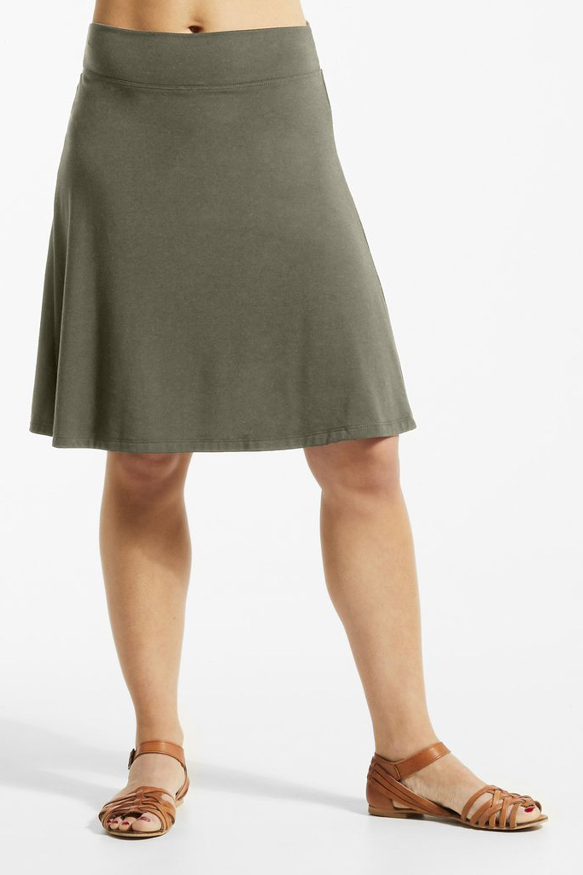 JIF Skirt by FIG, Drirelease fabric, Acacia, A-line, wide waistband, sizes XS to XL, made in Canada