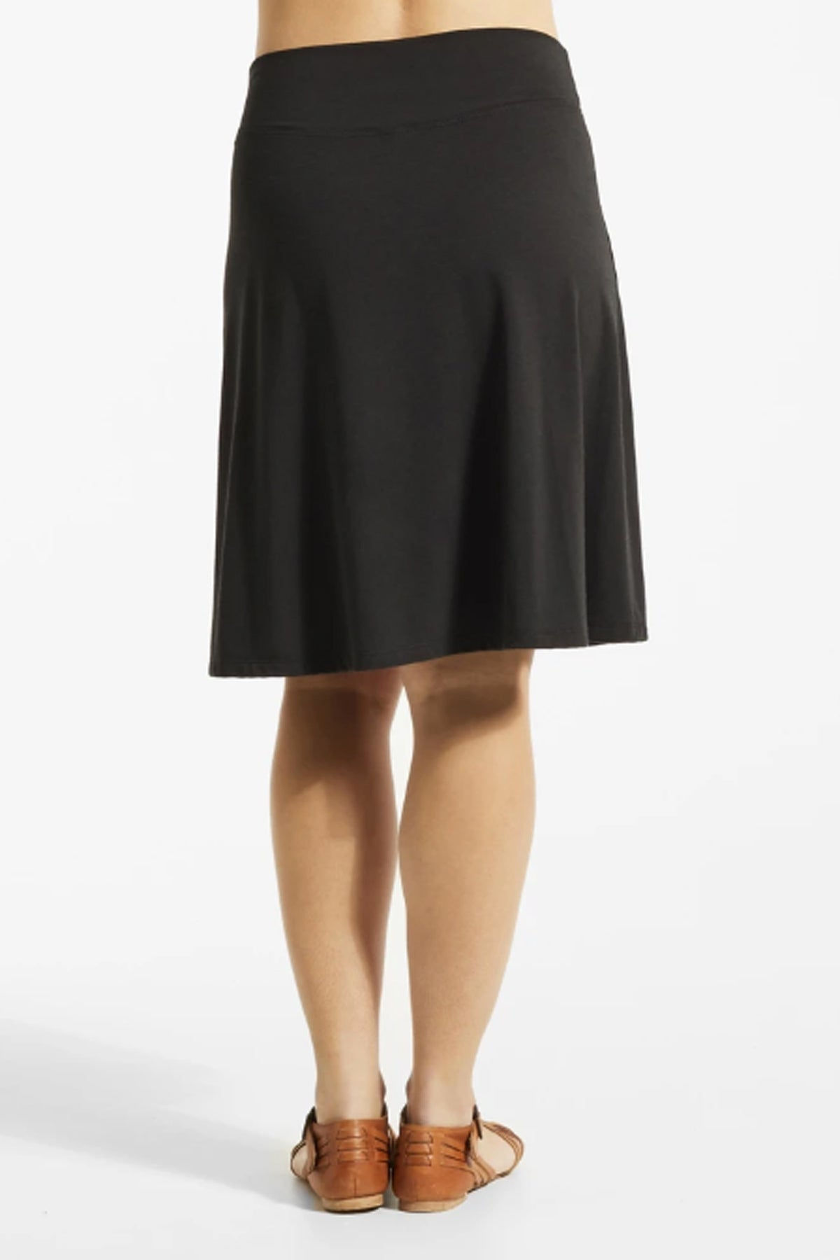 JIF Skirt by FIG, Black, back view, Drirelease fabric, A-line, wide waistband, sizes XS to XL, made in Canada