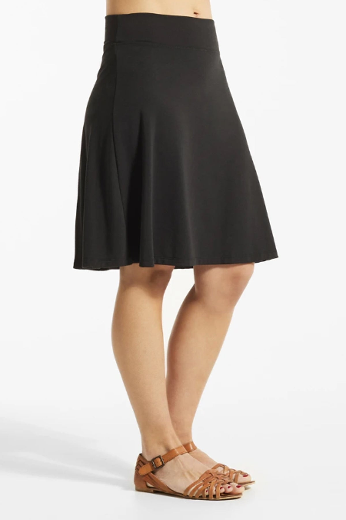JIF Skirt by FIG, Black, side view, A-line, Drirelease fabric, wide waistband, sizes XS to XL, made in Canada
