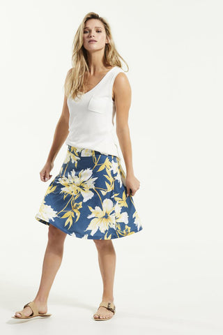 JIF Skirt by FIG, Bowerbird Carnation, A-line, wide waistband, Drirelease fabric, sizes XS to XL, made in Canada
