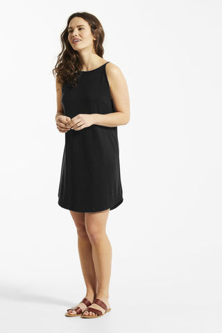 REA Dress by FIG, Black, halter, tie back, darts at chest, straight fit, curved hem, Drirelease fabric, sizes XS to XL, made in Canada