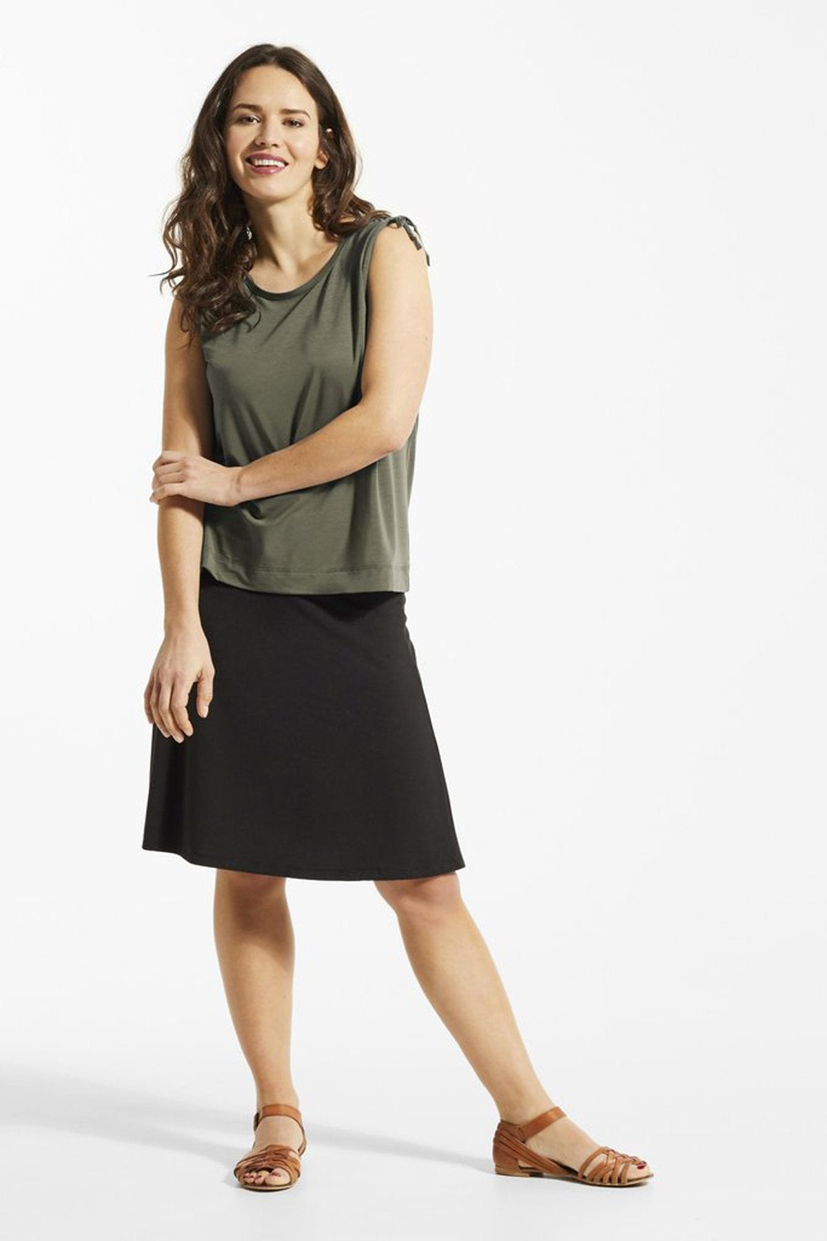 SUD Top by FIG Clothing, Acacia, tank top, drawstrings at shoulders, Drirelease fabric, sizes XS to XL, made in Canada