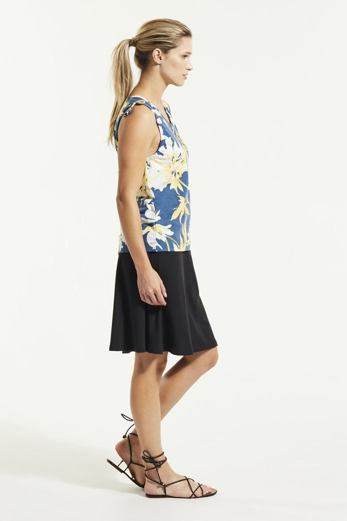 SUD Top by FIG Clothing, Bowerbird Carnation, side view, tank top, drawstrings at shoulders, Drirelease fabric, sizes XS to XL, made in Canada