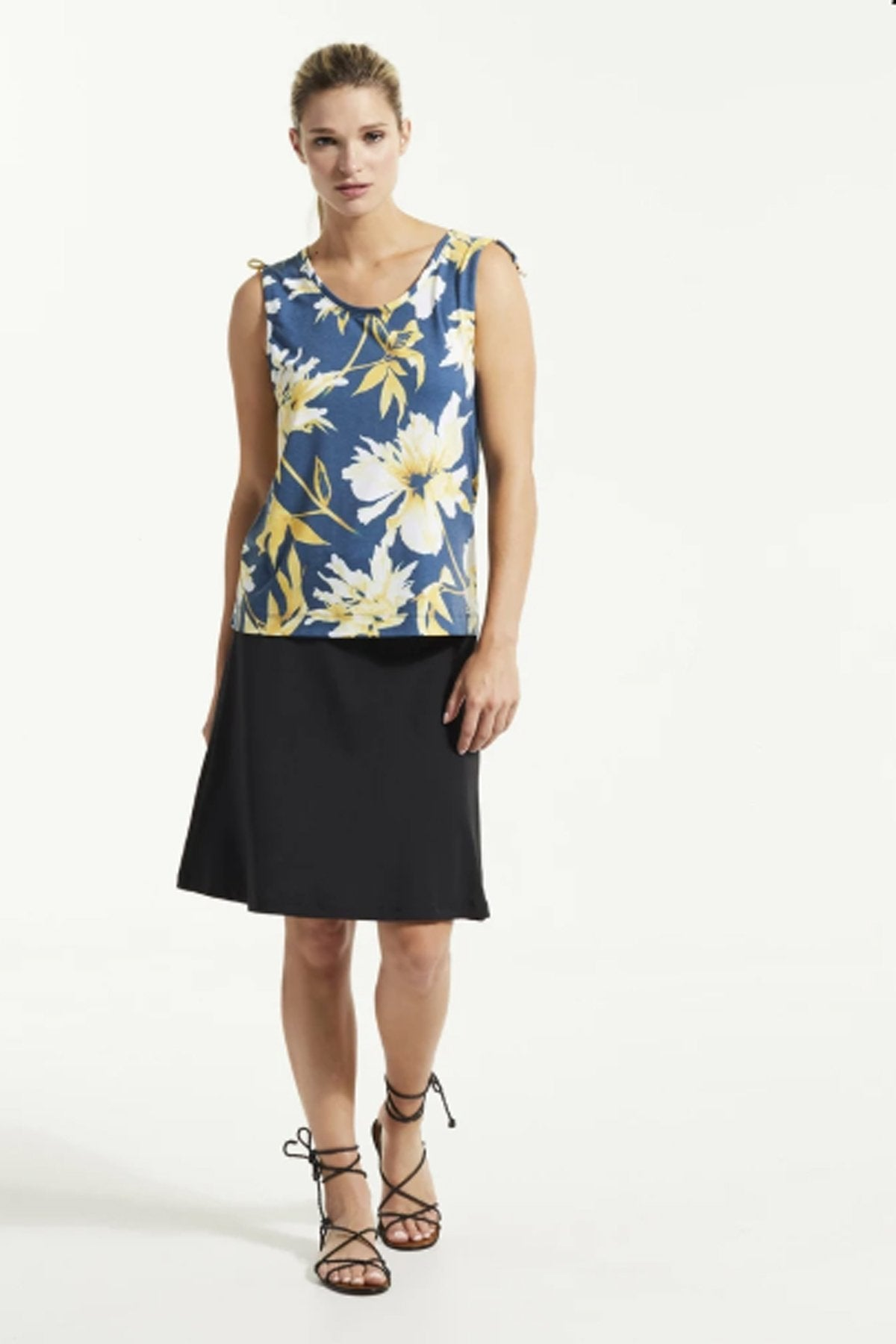 SUD Top by FIG Clothing, Bowerbird Carnation, tank top, drawstrings at shoulders, Drirelease fabric, sizes XS to XL, made in Canada