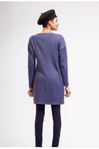 RAMONALISA Fuji Eco-Fleece Tunic in Blue FW2020/2021 (rear view, full length)