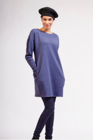 RAMONALISA Fuji Eco-Fleece Tunic in Blue FW2020/2021 (front view, full length)