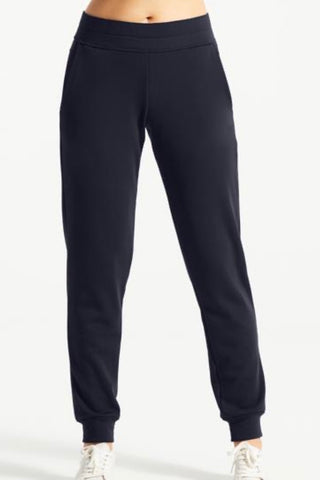 FIE jogger pant, FIG, navy blue, elastic waist band, slant pockets, relaxed fit, cuffed ankle, front view, FW2020/2021