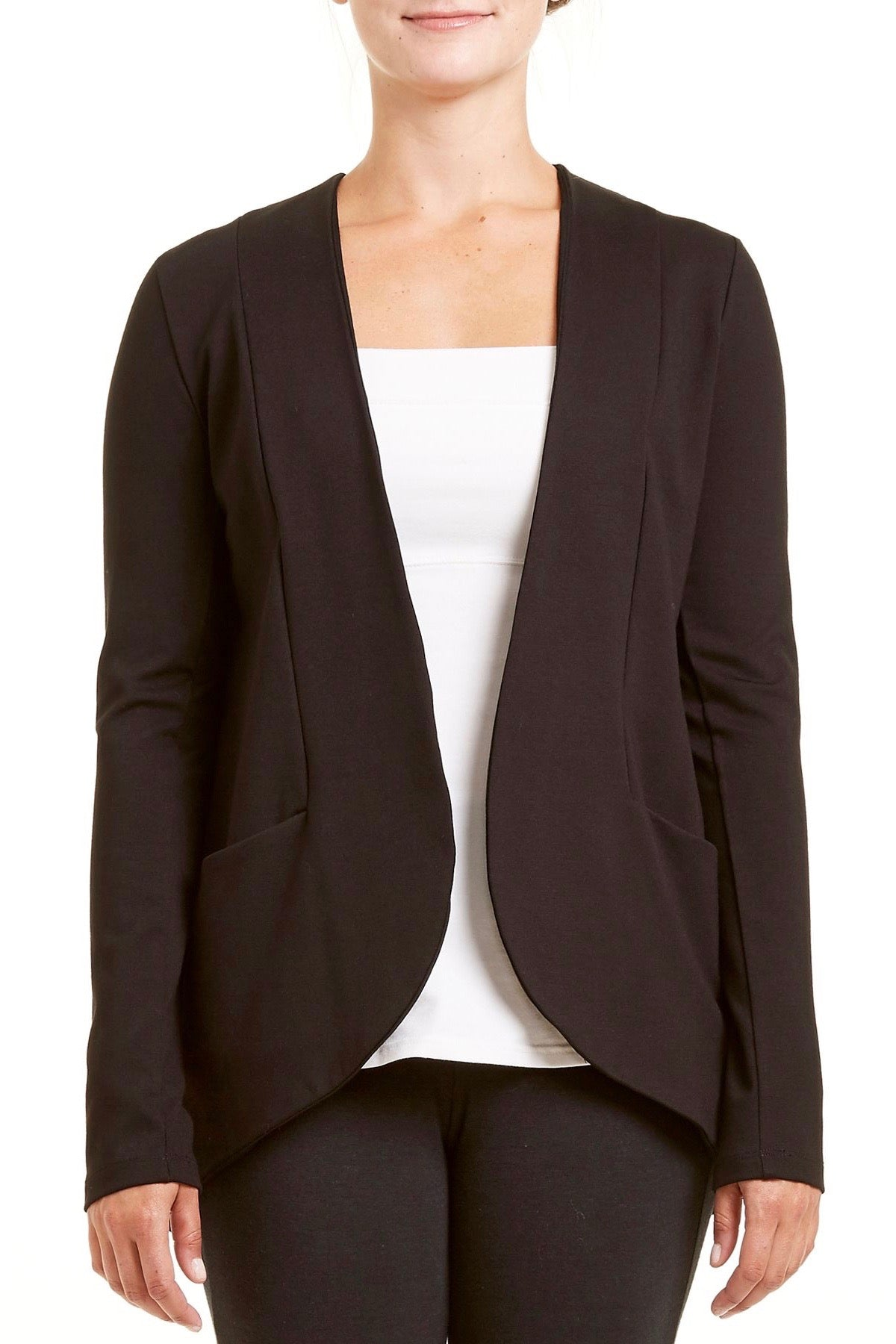 PIF Blazer by Fig Clothing, Black, Ponte di Roma, princess seams, rounded hemline, sizes XS to XL