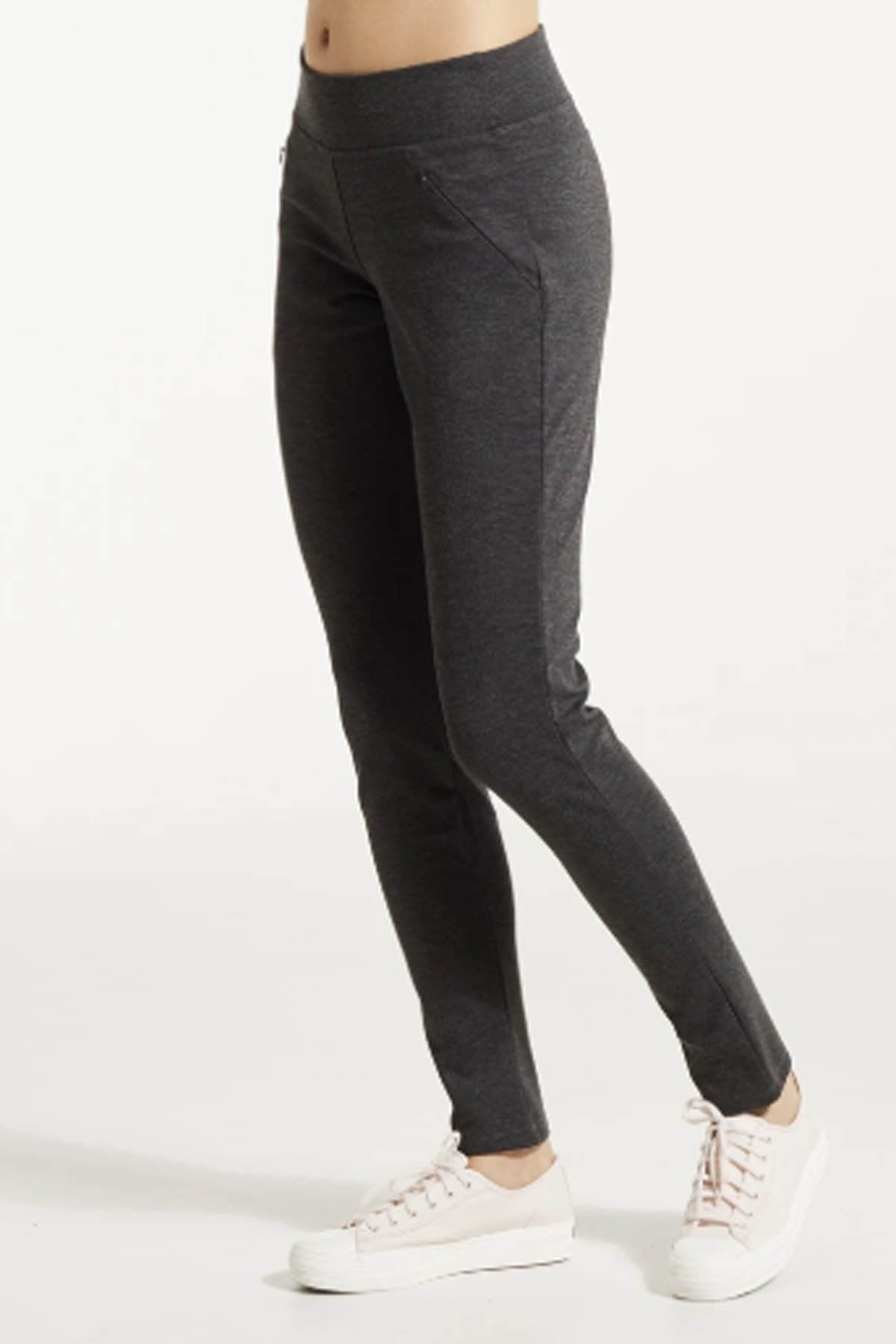 SOZ Pants by FIG Clothing, Wolf, semi-fitted leg, elastic waist, mid-rise, front slant pockets with invisible zippers, ponte di roma fabric, sizes XS to XL, made in Canada