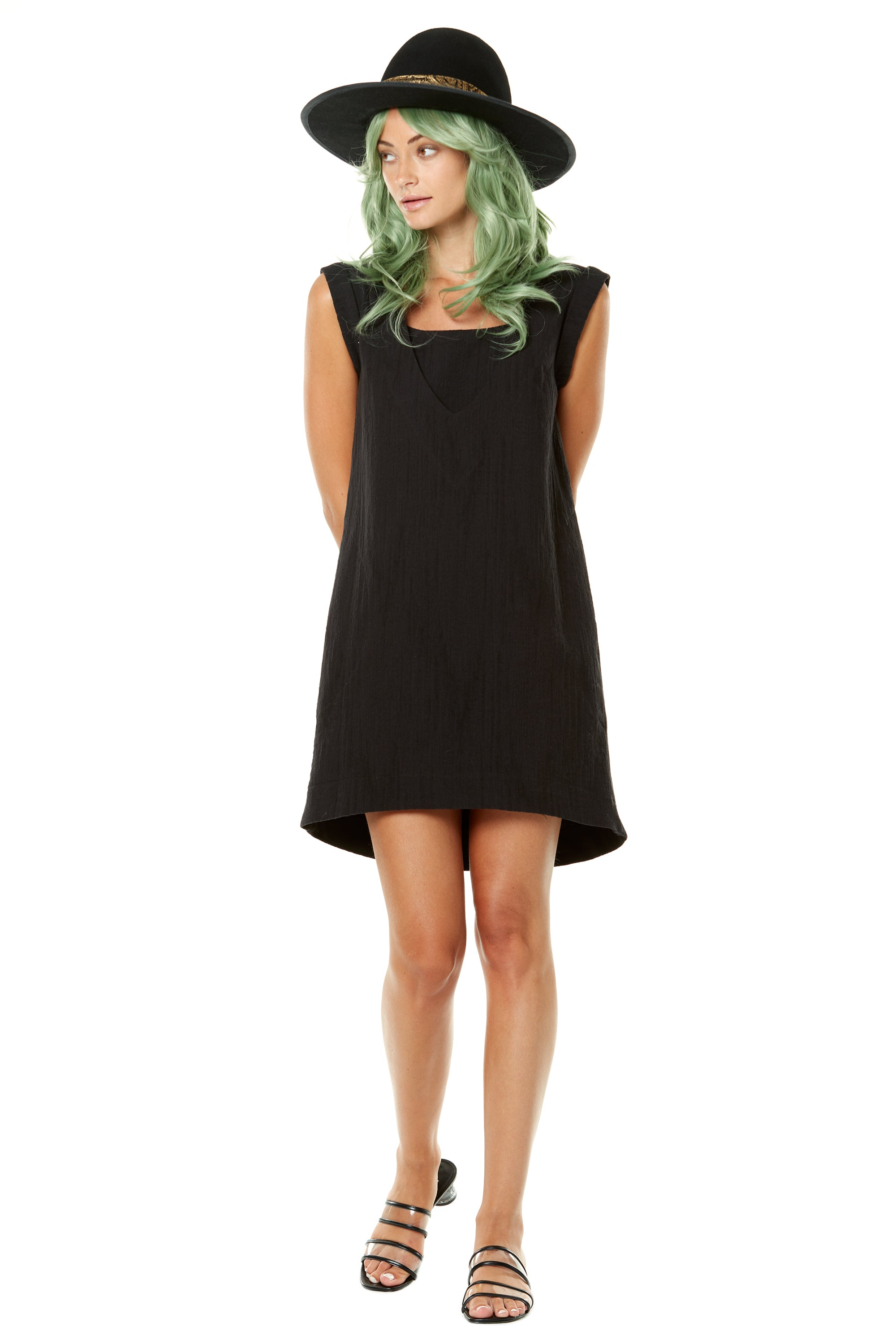 Gin-Gins Dress by Annie 50, black, cap sleeves, square neck, cotton-linen crepe, high-low hemline, sizes XS to L, made in Quebec