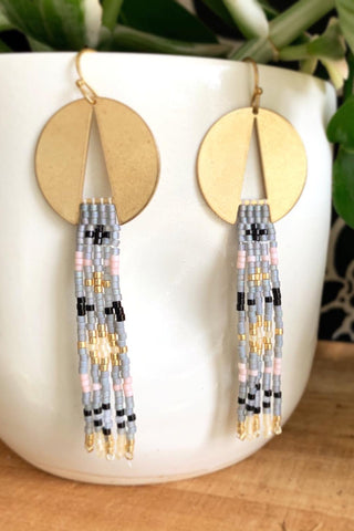 Cleopatra Earrings - Grey Pink Gold