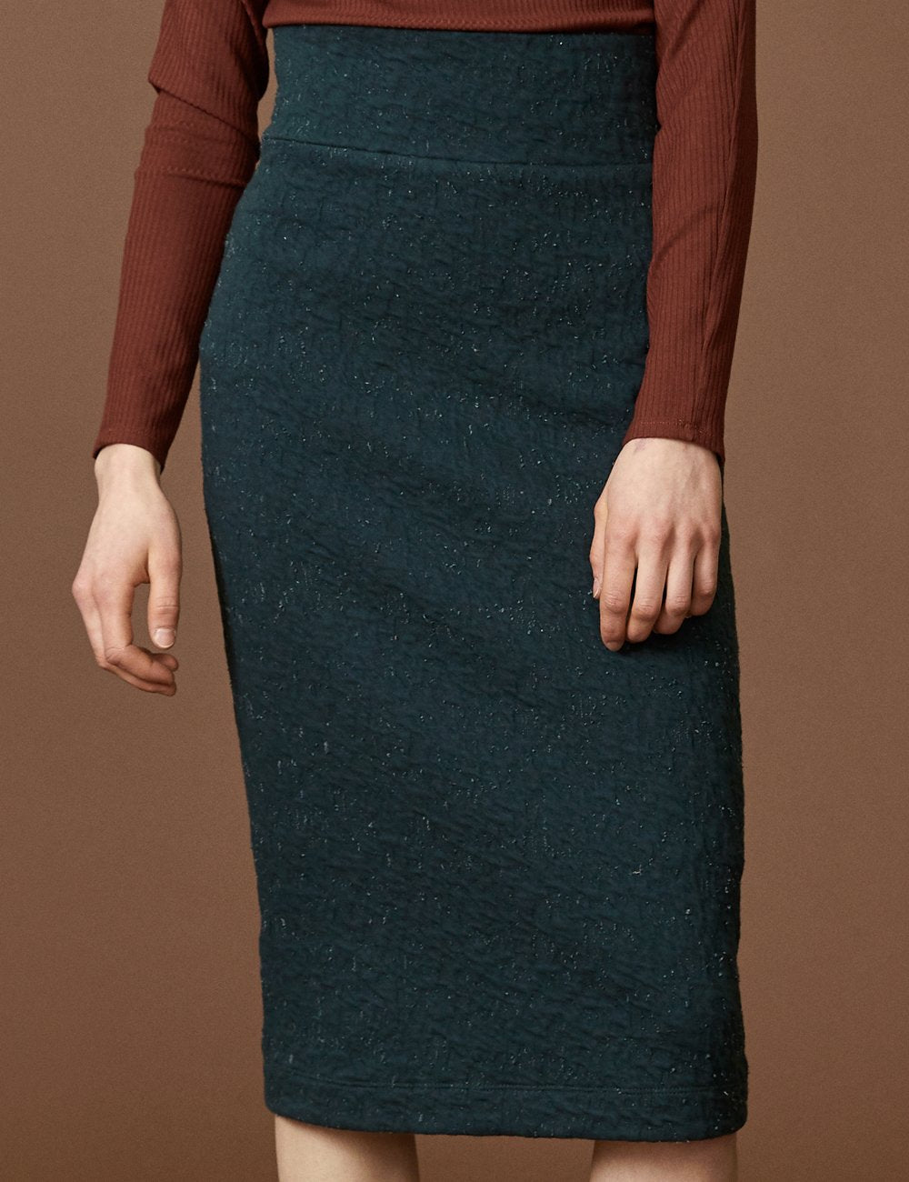 COKLUCH Gemini Skirt in Teal Crinkle (close up) FW2020/2021