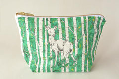 Deer Make Up Bag by Gold and Ginger, digital print, original watercolour pen and ink drawing, made in Ontario
