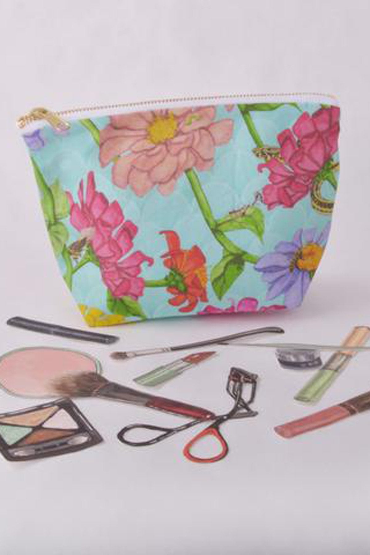 Zinnia and Insects Make Up Bag by Gold and Ginger, digital print, original watercolour pen and ink drawing, made in Ontario