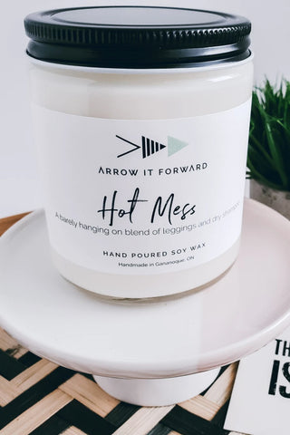 Hot Mess candle by Arrow It Forward in a reusable glass jar
