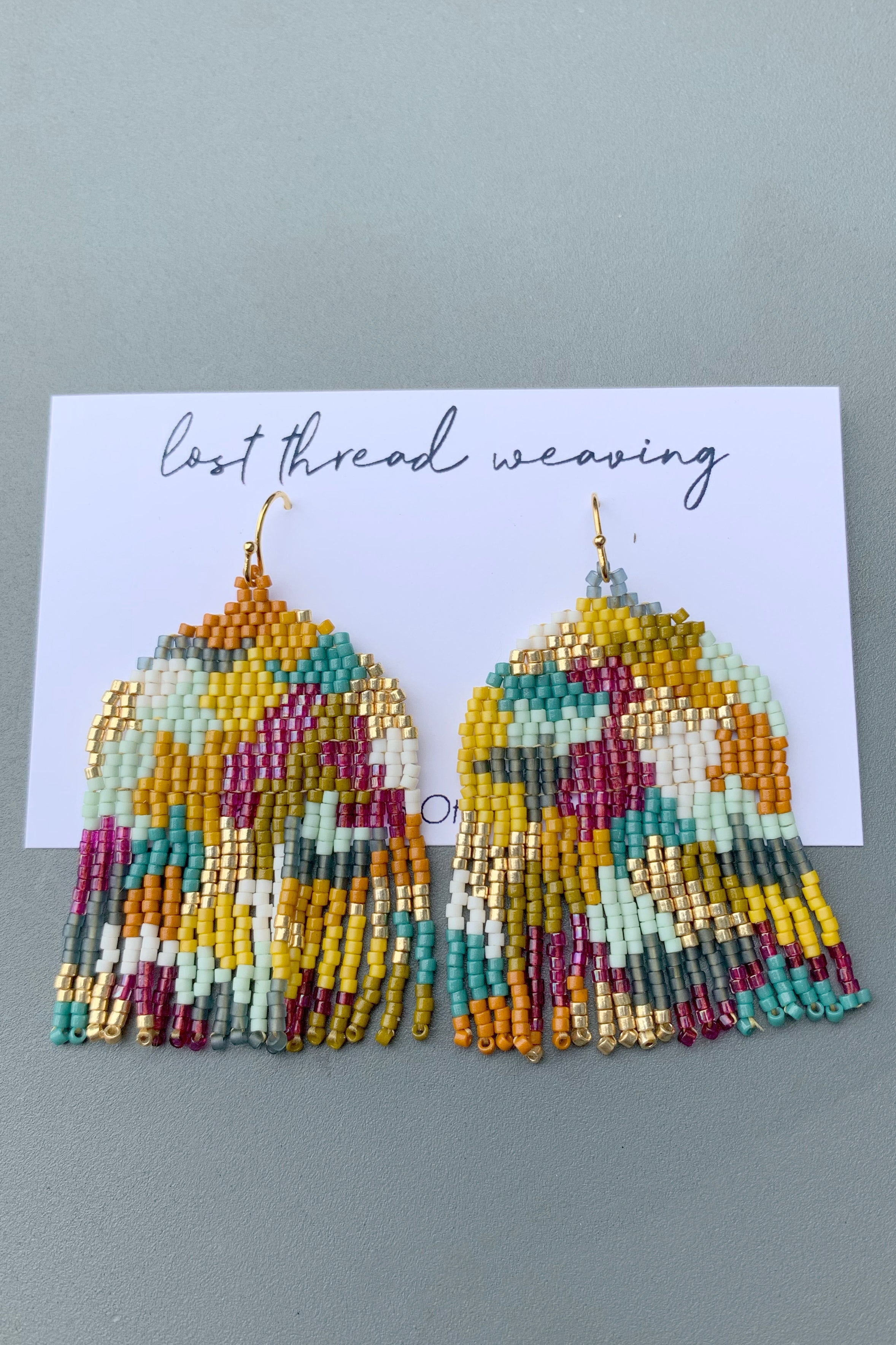 Large beaded earrings - fall colours abstract
