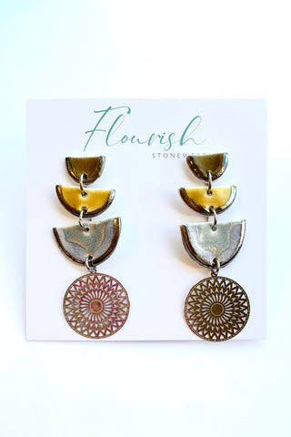 Arch statement earrings with olive green, curry yellow and blue-grey in silver