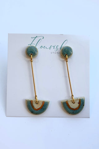 Blue Green Circle with Blue Gree and white arches, gold lustre with long gold Dangles
