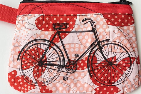 Cynthia DM waterproof pouches-Bicycle polka dots and Bicycle red velvet
