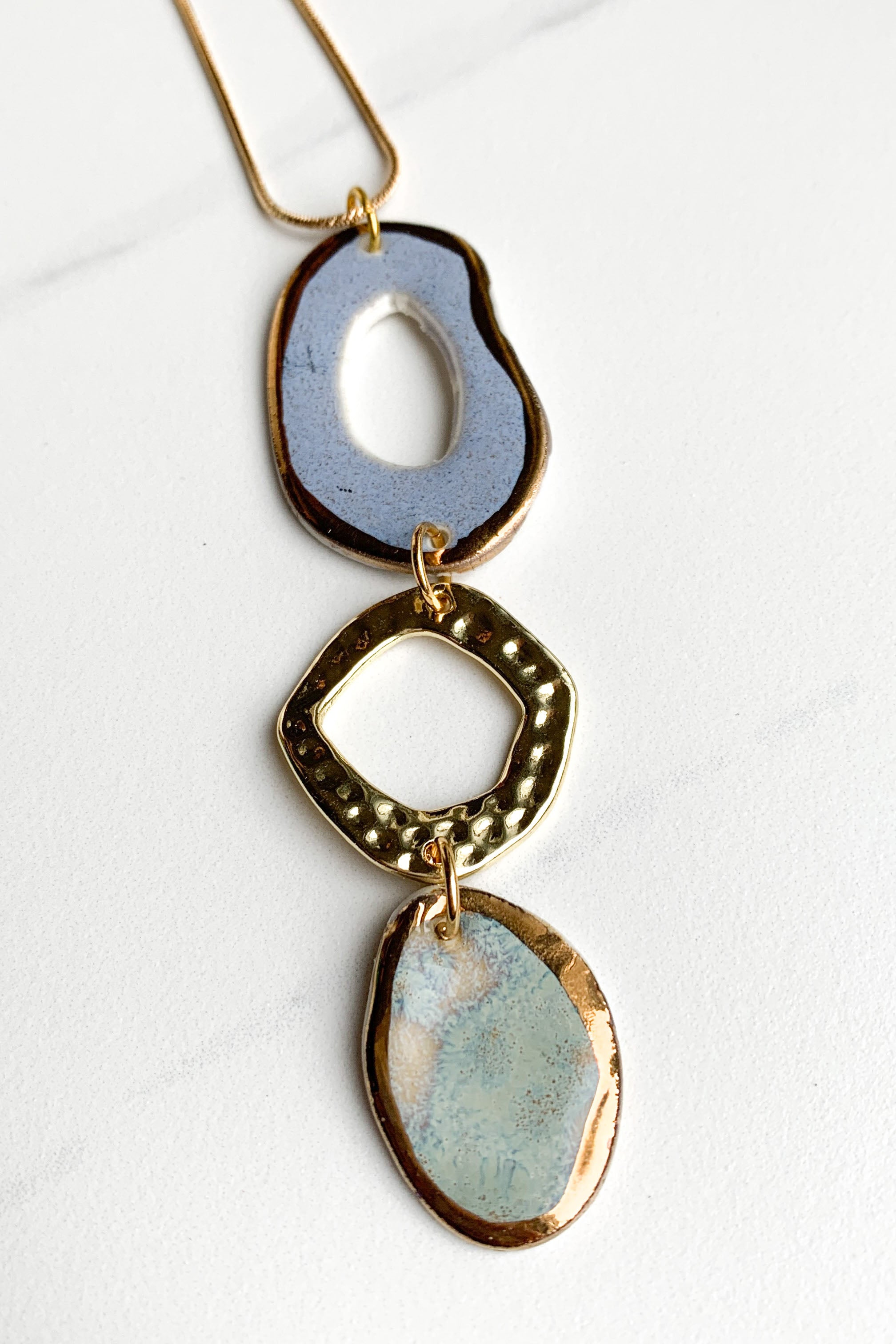 Porcelain Lavender and Blue-Grey Abstract Oval Necklace and Gold Attachment