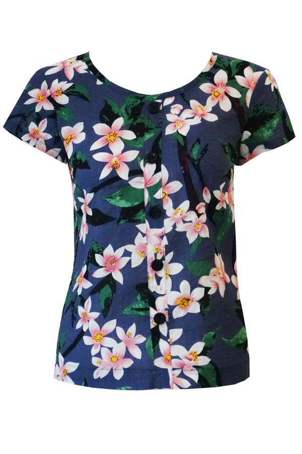 Ingrid Button Front Blouse - Hawaii Print