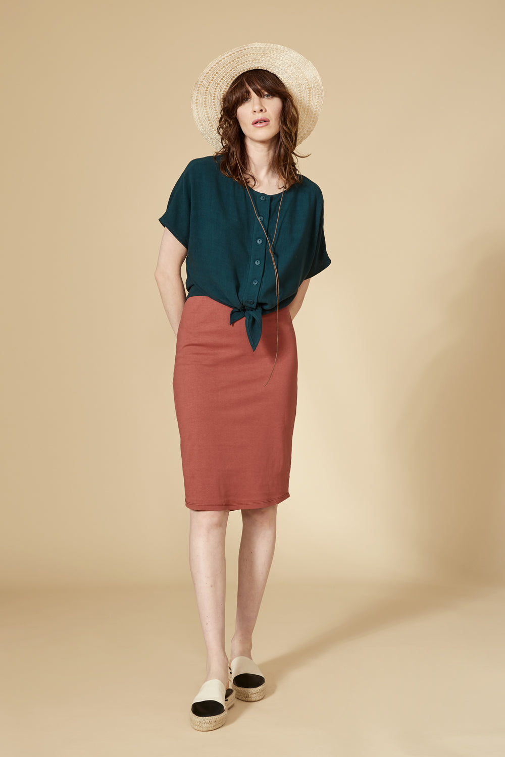 Impala Top by Cokluch, Teal, reversible, buttons on one side, split hem, tails, short sleeves, sizes XS to L, made in Montreal