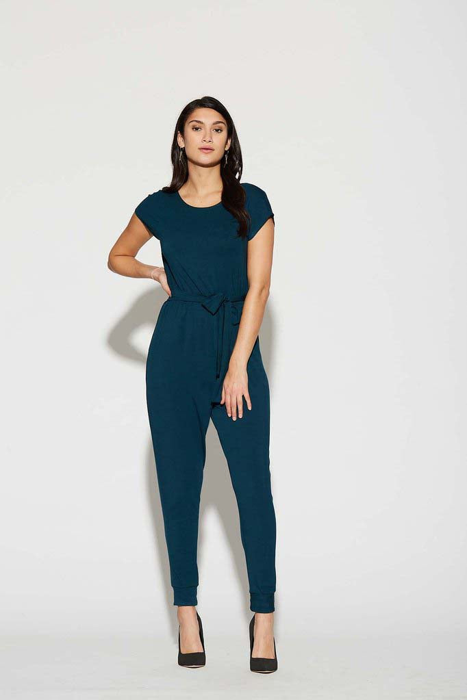 Venice Jumpsuit by Cherry Bobin Deep Sea Reversible Neck line Front