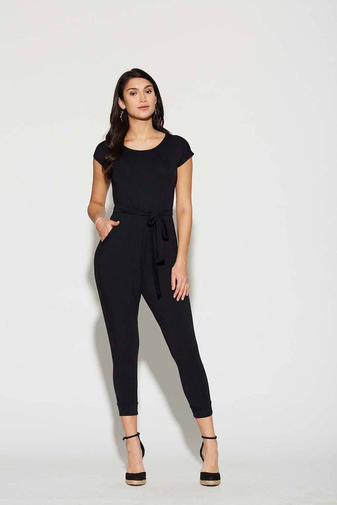 Venice Jumpsuit by Cherry Bobin Black with Rounded Neckline Front