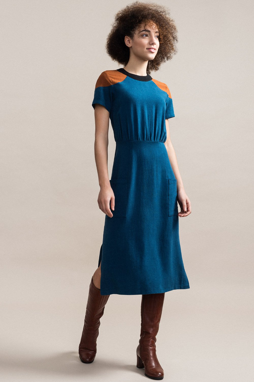 JENNIFER GLASGOW Cherish Dress in Teal FW2020/2021 (front view, full-length)