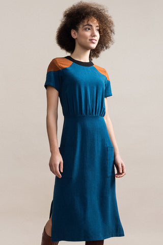 JENNIFER GLASGOW Cherish Dress in Teal FW2020/2021 (front view, detail)