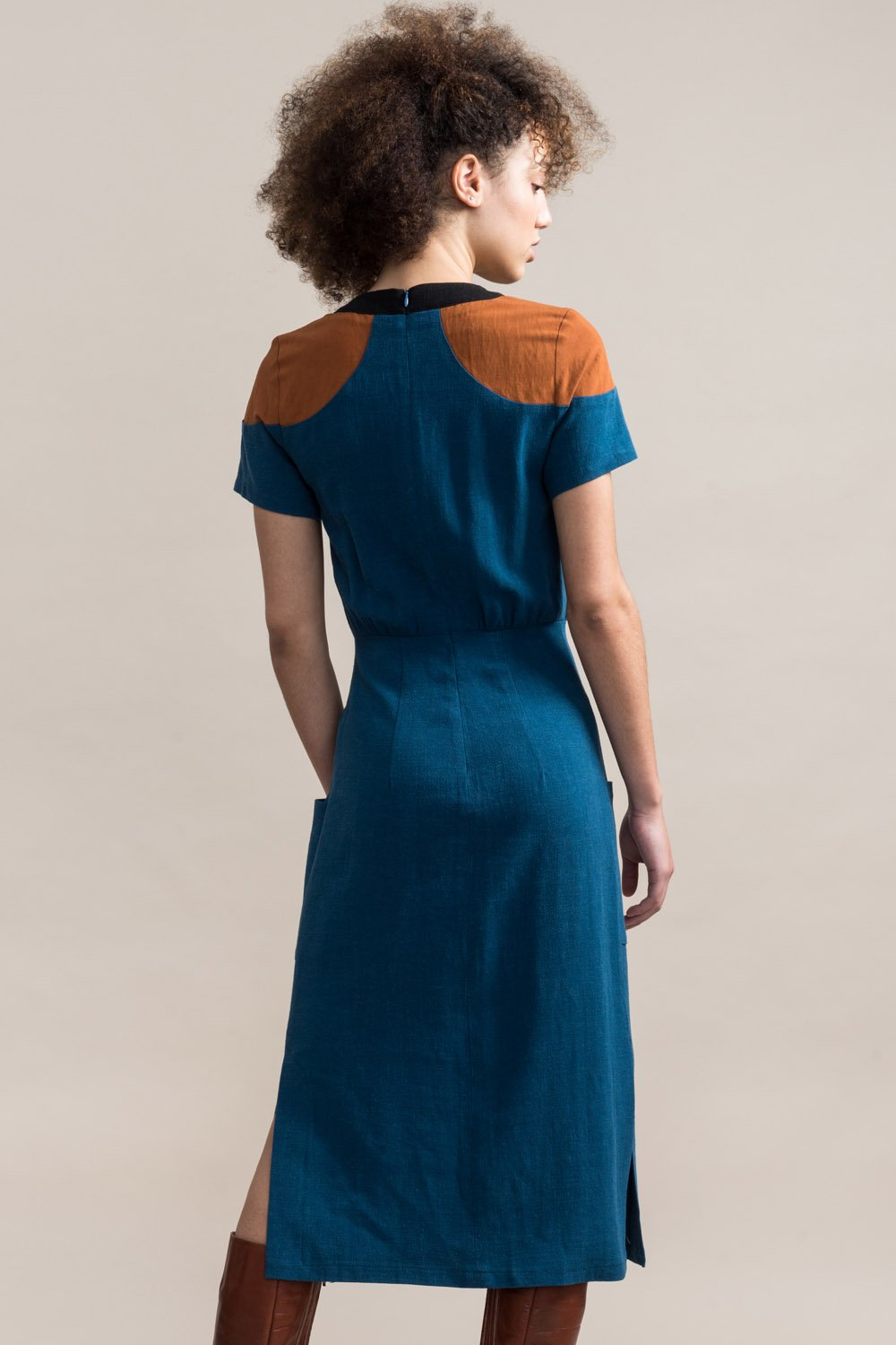 JENNIFER GLASGOW Cherish Dress in Teal FW2020/2021 (rear view, detail)