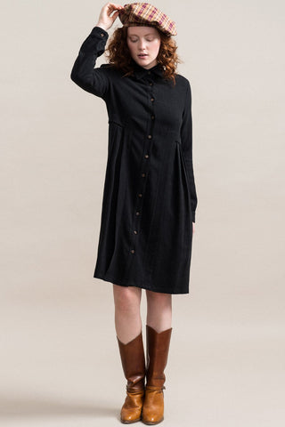 Jennifer Glasgow Inari Shirt Dress in Black (front view, full length) FW2020/2021