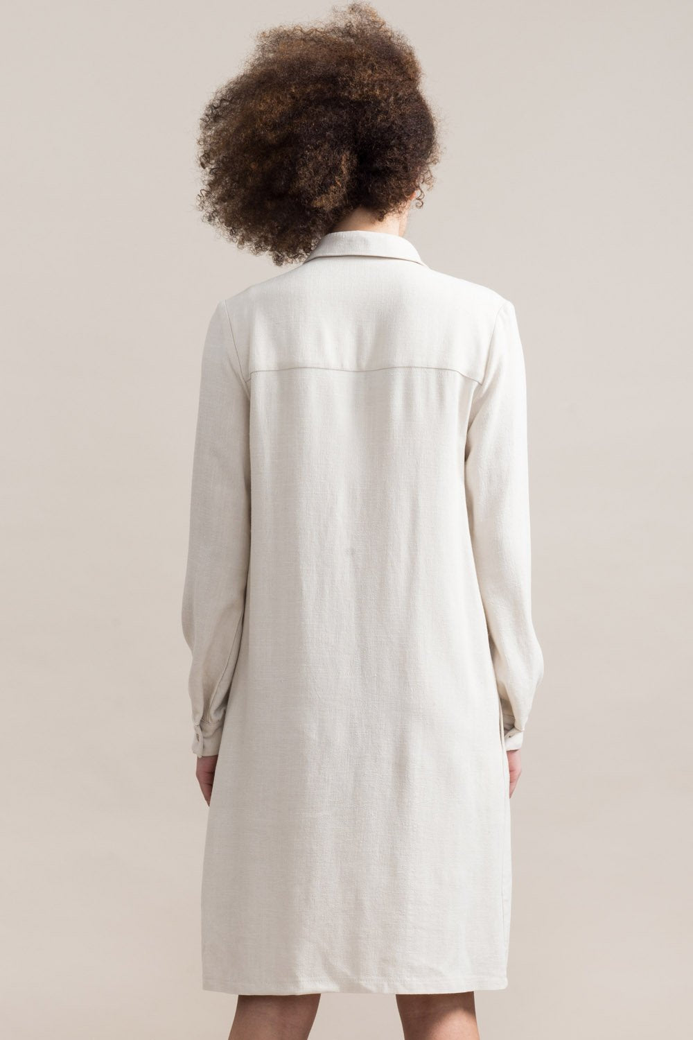 JENNIFER GLASGOW Inari Shirt Dress in Natural (rear view, full length) FW2020/2021
