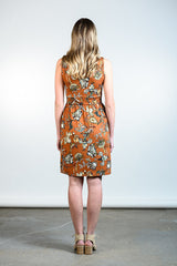 Kelli Dress by Tangente, Caramel floral, back view, faux-wrap neckline, cinched waist, gathered skirt, side pockets, sizes XS to XXL, made in Ottawa