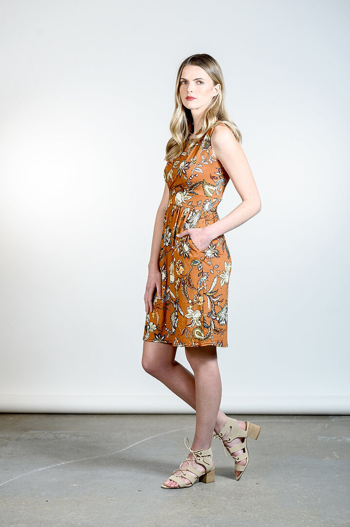 Kelli Dress by Tangente, Caramel floral, side view, faux-wrap neckline, cinched waist, gathered skirt, side pockets, sizes XS to XXL, made in Ottawa