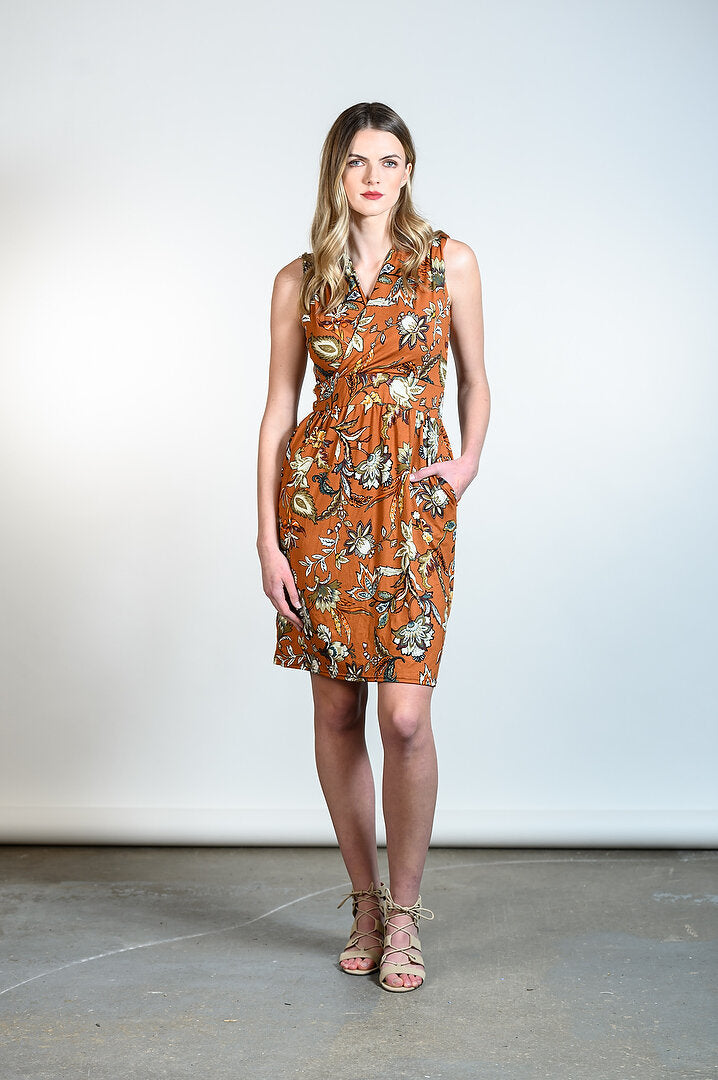 Kelli Dress by Tangente, Caramel floral, faux-wrap neckline, cinched waist, gathered skirt, side pockets, sizes XS to XXL, made in Ottawa