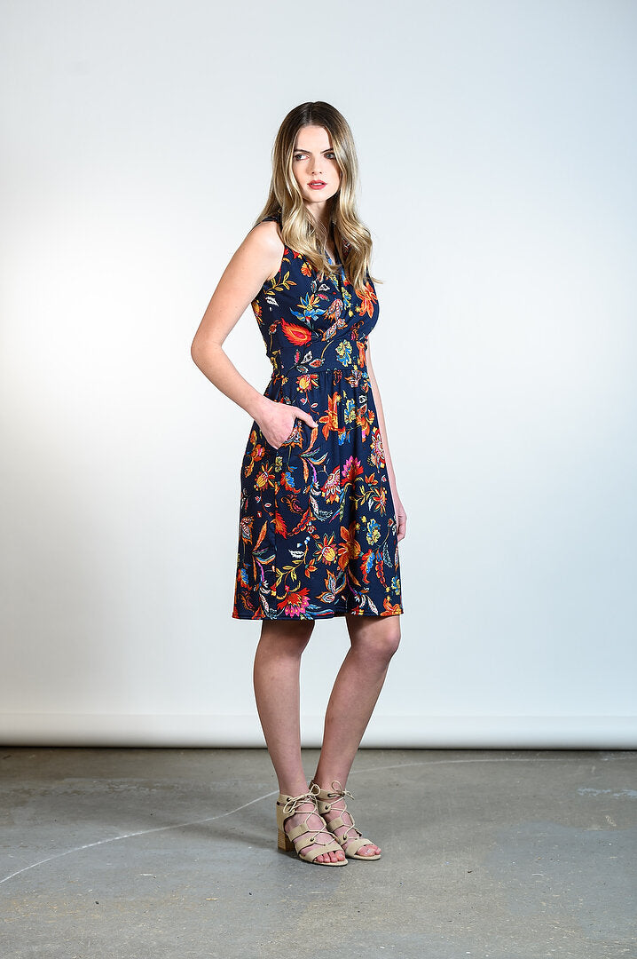 Kelli Dress by Tangente, Navy floral, faux-wrap neckline, cinched waist, gathered skirt, side pockets, sizes XS to XXL, made in Ottawa