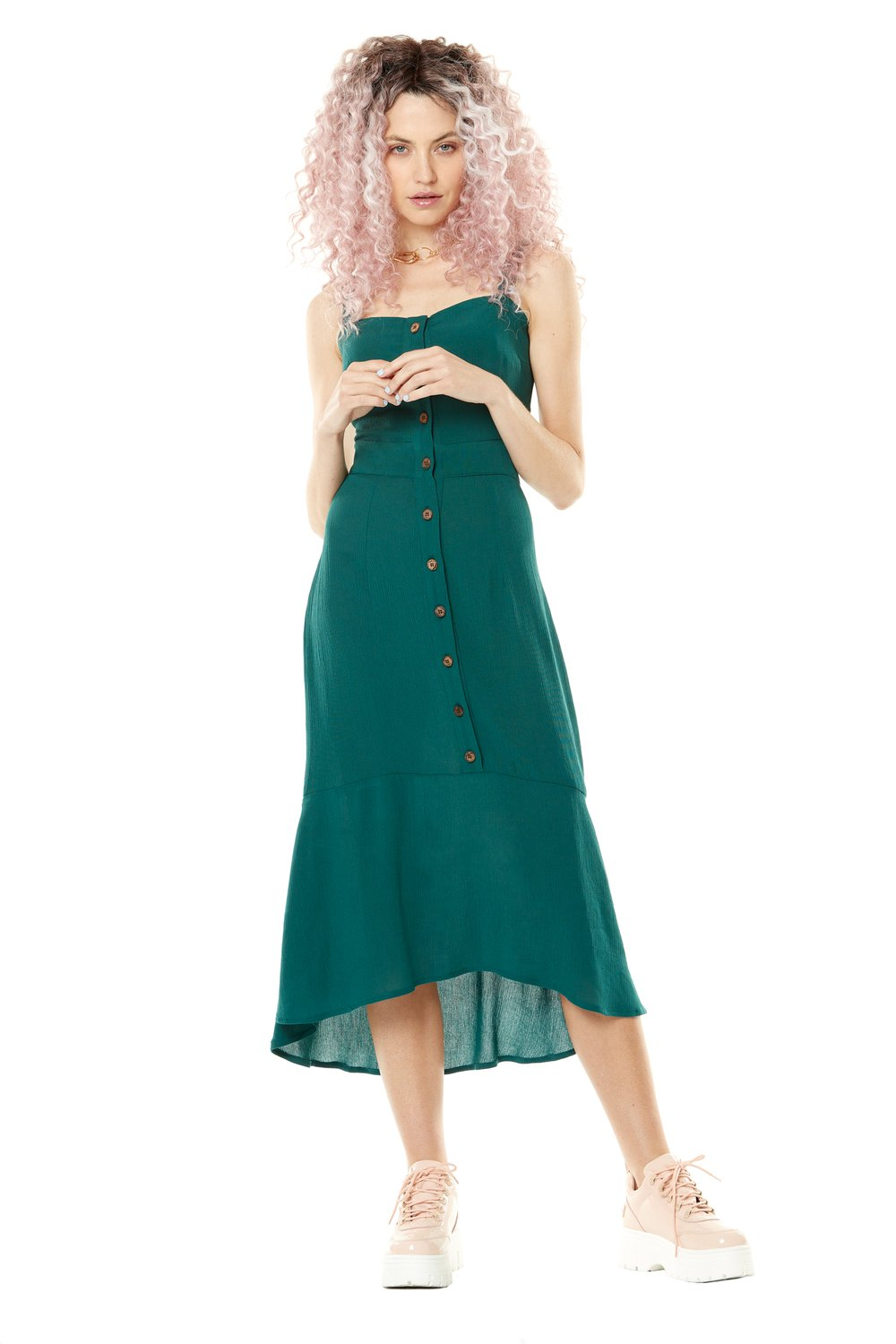 Lune de Miel Dress by Annie 50, Emerald, button up front, flared skirt, fitted bodice, open lower back, adjustable spaghetti straps, sizes XS to L, made in Quebec