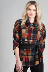 DINH BA Life Cape (front view) in Colourful Plaid FW2020/2021