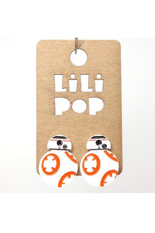 BB-8 Star Wars Earrings by Creations Lilipop, reclaimed white plastic, engraved, laser-cut, orange and black paint-fill, stainless steel posts and backings, made in Montreal