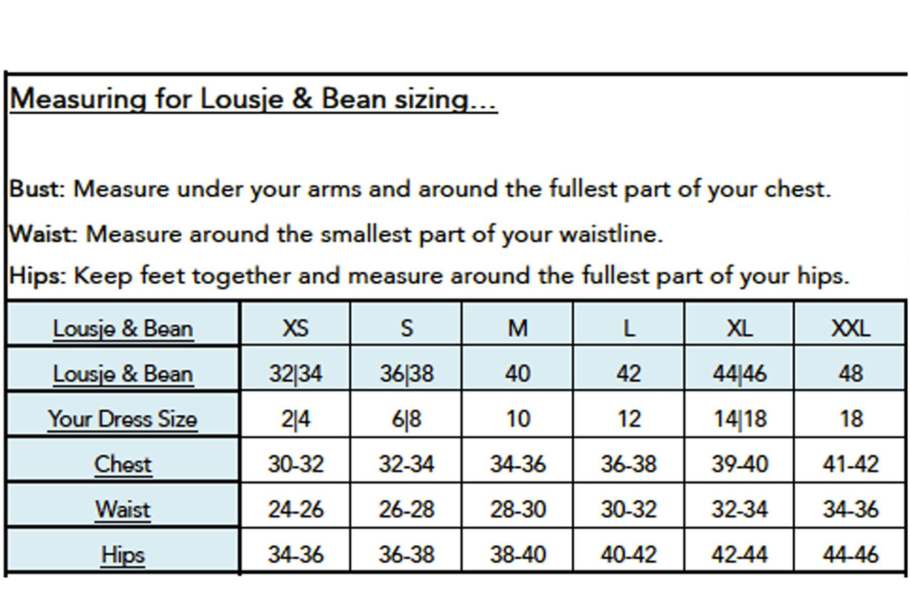 Lousje and Bean Size Chart