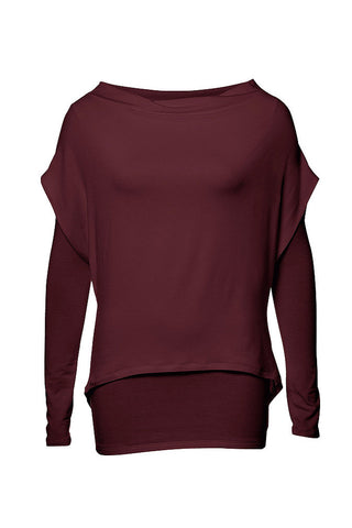 MES105 Essentials Top by Melow, Aubergine, wide neck, double-layer, organic bamboo knit, sizes XS-XL, made in Montreal
