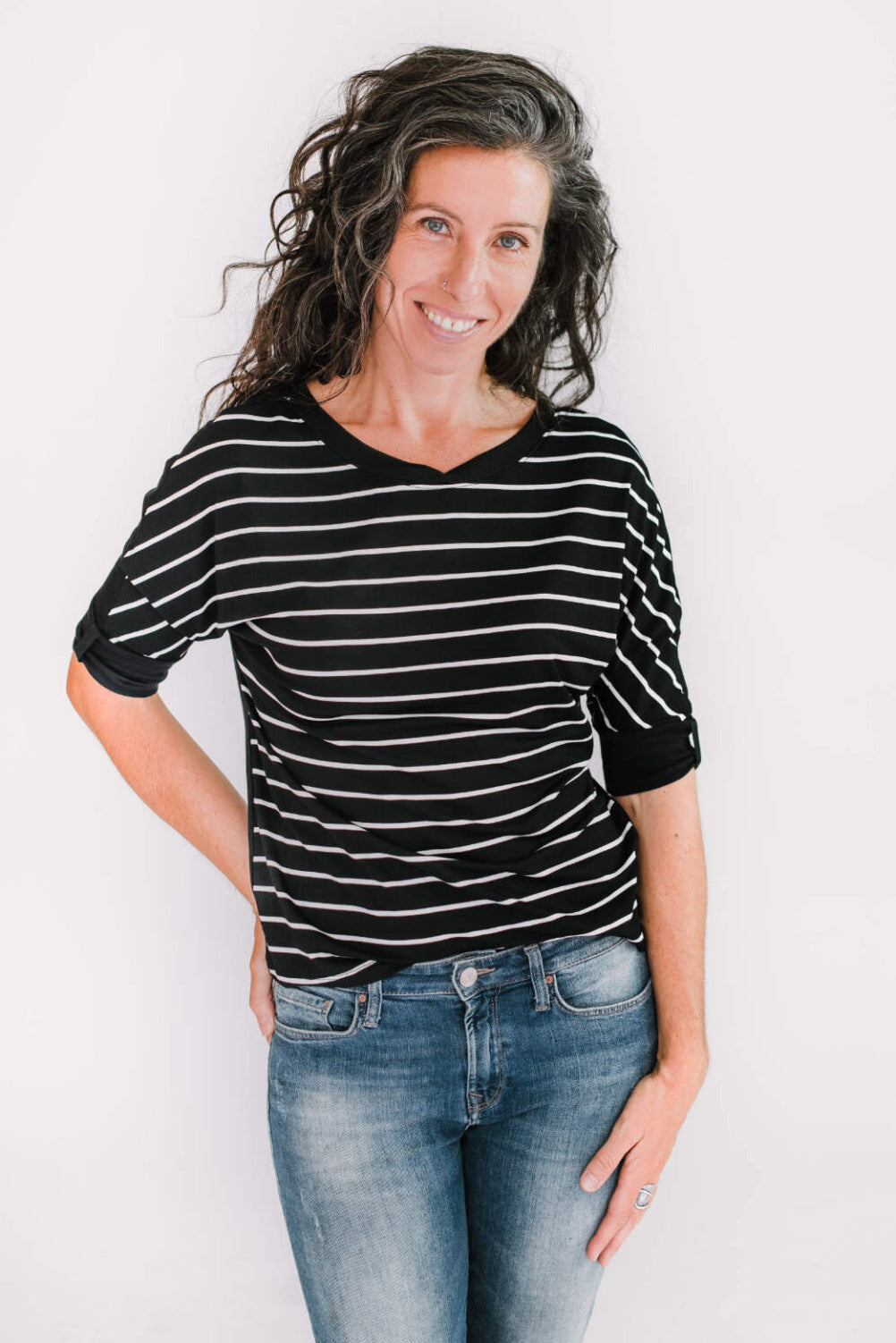 MARIE C Boreal Top in Black and White Stripes FW2020/2021 (front view)