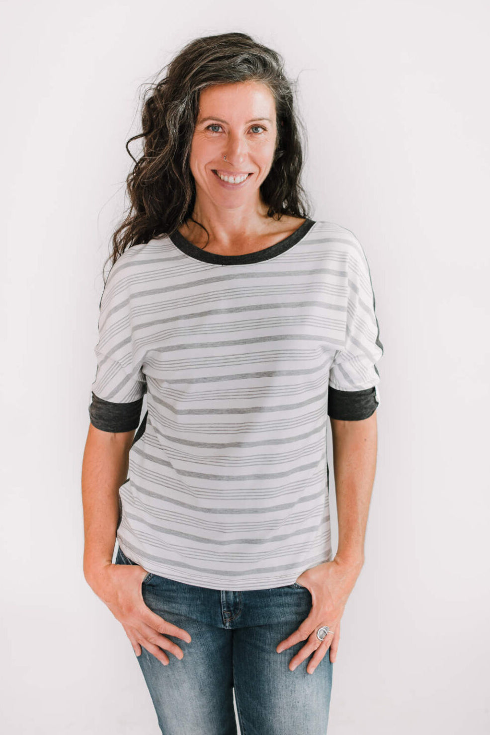 MARIE C Boreal Top in Charcoal and White Stripes FW2020/2021 (front view)