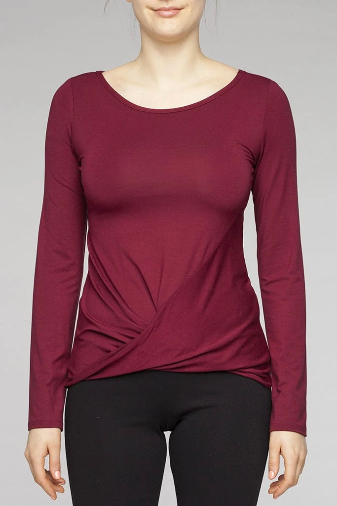 KOLLONTAI Mathias Top in Burgundy FW2020/2021 (detail, front view)